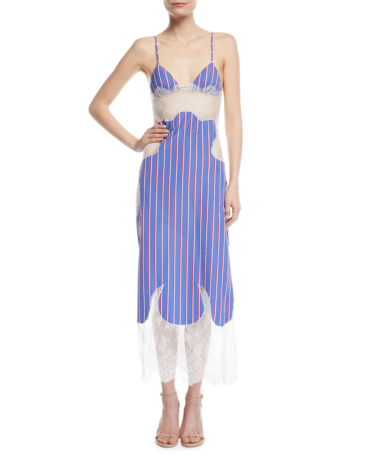 3787d36534e2 Off-White Striped Cotton and Lace Slip Dress