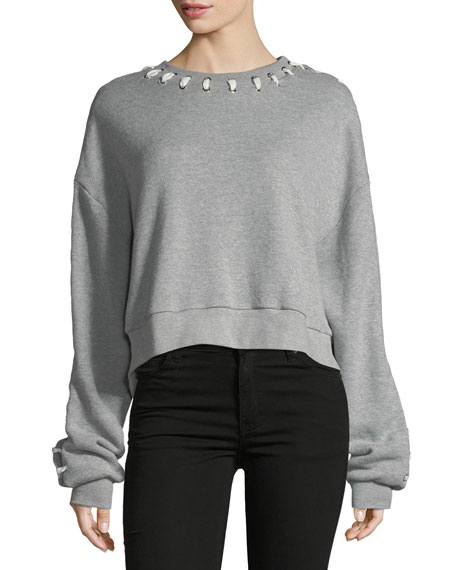 Loopback Whipstitch Cropped Cotton Sweater