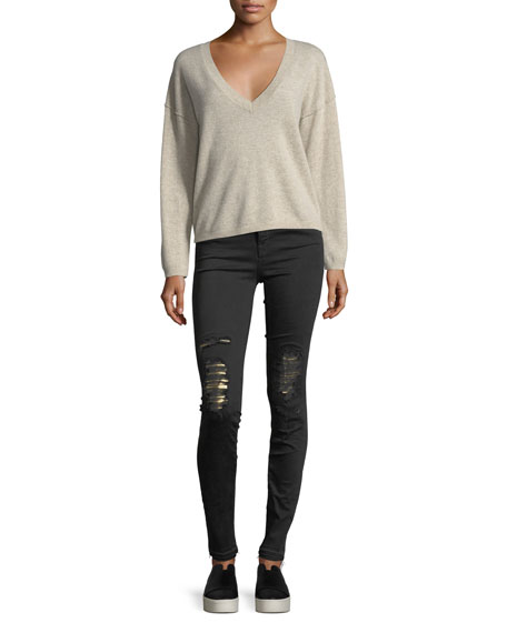 Maria High-Rise Skinny Jeans w/ Distressed Metallic Knees