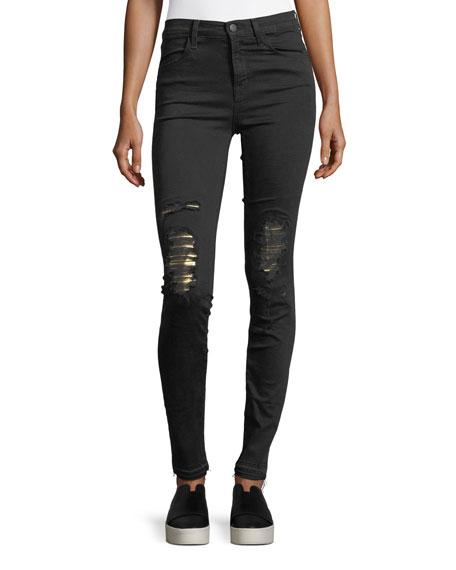 J Brand Maria High-Rise Skinny-Leg Jeans w/ Distressed