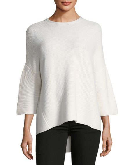 Merino Wool Trapeze Crewneck Sweater