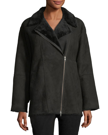 Sleek Shearling Leather Bomber Jacket