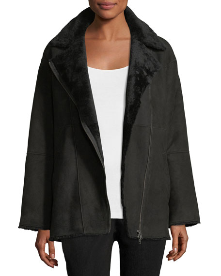 Eileen Fisher Sleek Shearling Leather Bomber Jacket