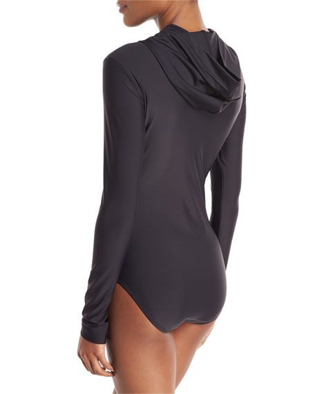 Image 2 of 2: Cover Zip-Front Hooded Long-Sleeve One-Piece Swimsuit