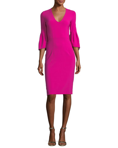 Ginette V-Neck  Trumpet-Sleeve Sheath Cocktail Dress