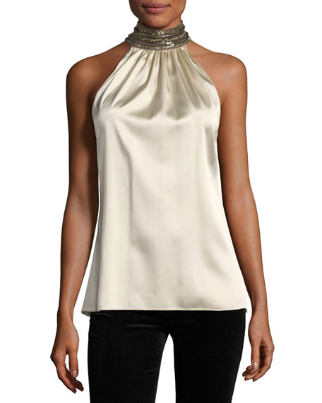 Ramy Brook Galina Jeweled-Collar Silk Satin Blouse