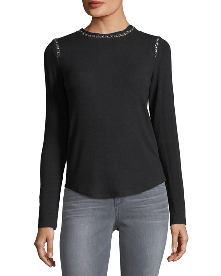 Generation Love Paula Crewneck Long-Sleeve Sweater with Chain