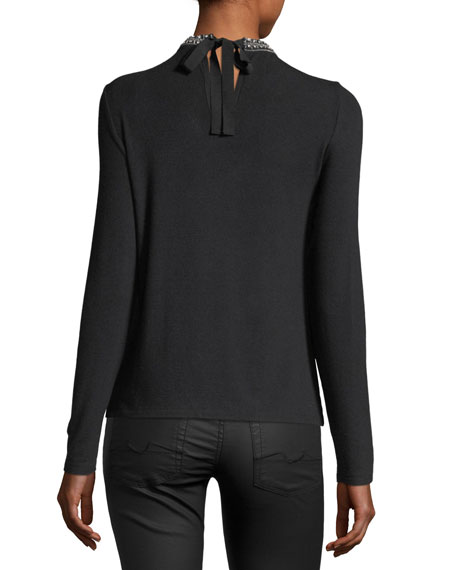Nina Embellished-Collar Long-Sleeve Knit Top