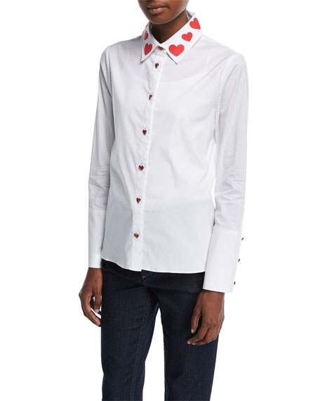 Alice + Olivia Faye Heart-Collar Button-Down Shirt