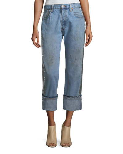Sequined Repurposed Wide-Legs Jeans