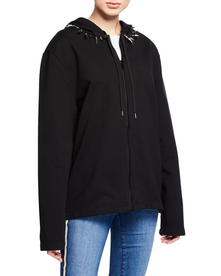 Compact French Terry Studded-Collar Hoodie