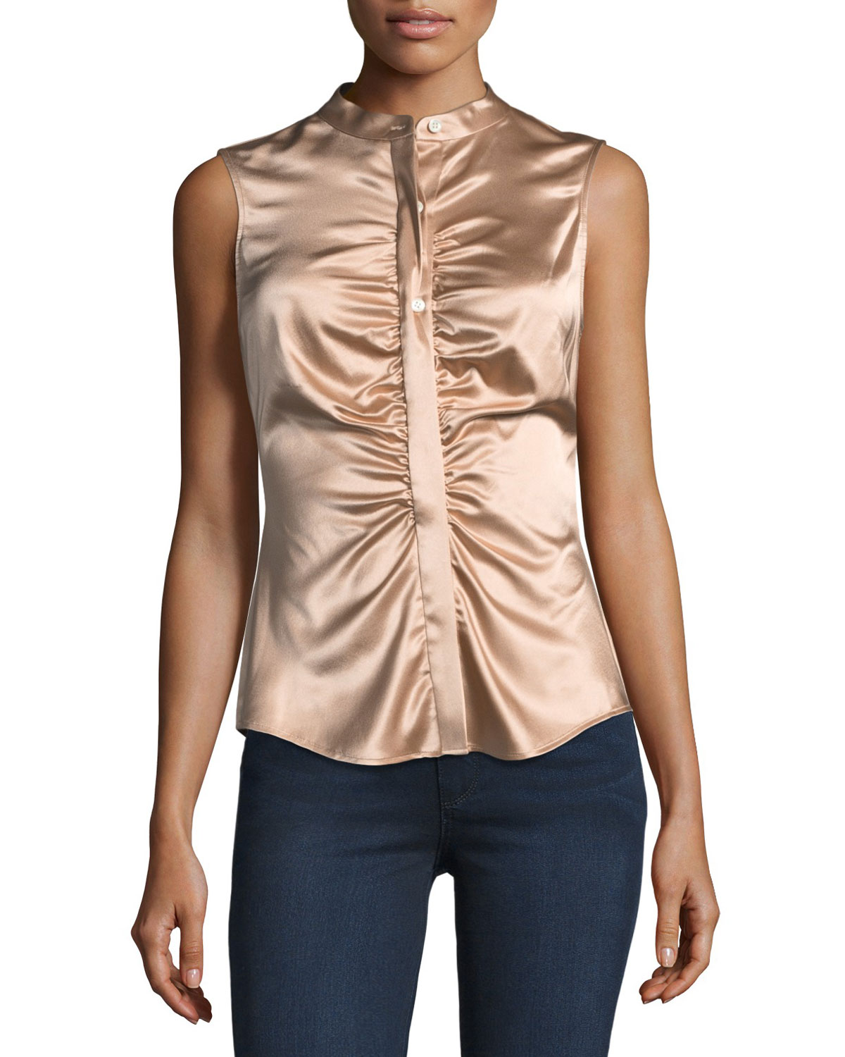 Theory Satin Stretch Button Front Marcus TopNeiman Fitted Ruched UqGMpzSV
