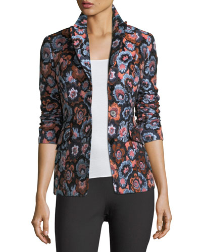 Floral-Jacquard Two-Button Riding Jacket