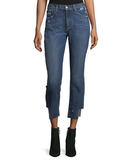 Acynetic Gemma Mid-Rise Straight-Leg Crop Jeans