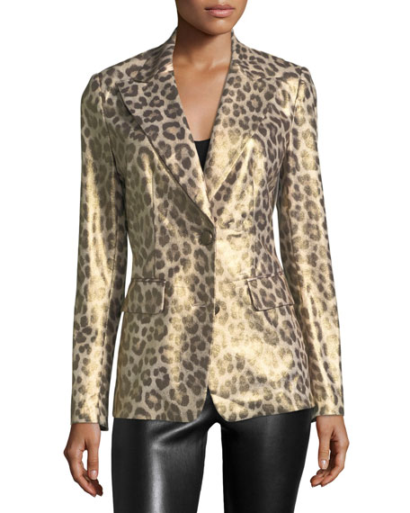 Leopard-Print Coated Blazer, Plus Size
