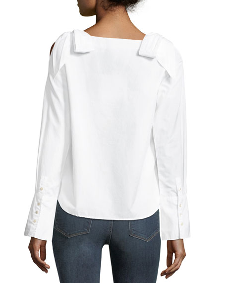 Round-Neck Bow-Shoulder Cotton Blouse