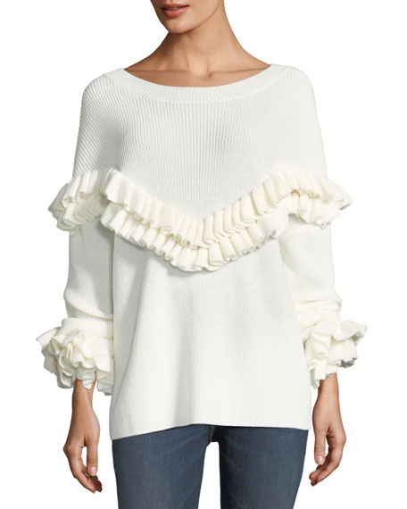 FRAME Ruffle-Yoke Ribbed Sweater