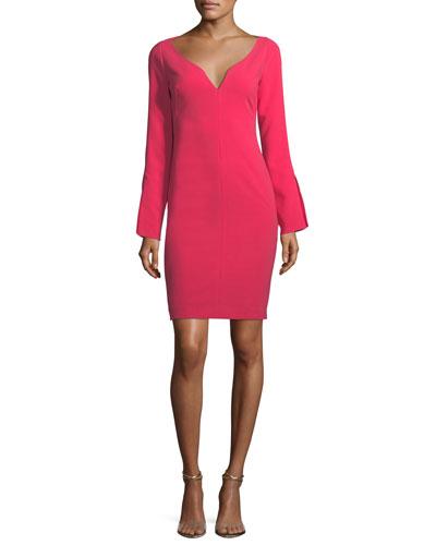 Maxwell Mini Long-Sleeve Sheath Cocktail Dress