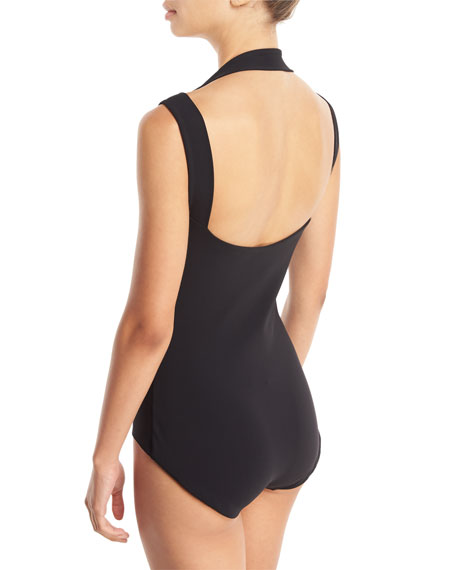 Quine Cutout Shoulder Open-Back One-Piece Swimsuit