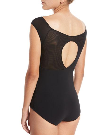 Laticha Wide V-Neck Illusion Mesh One-Piece Swimsuit