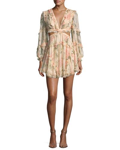Prima Floating Floral-Print Cutout Dress