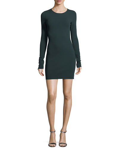 Long-Sleeve Crewneck Two-Tone Mini Dress