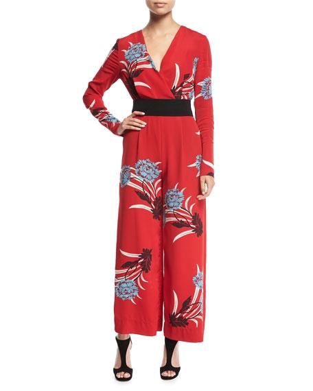 Diane von Furstenberg Floral-Print Crossover Crepe Jumpsuit