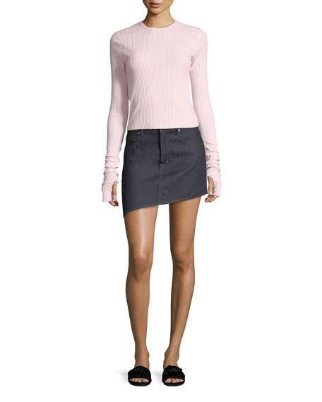 Asymmetric 5-Pocket Denim Skirt