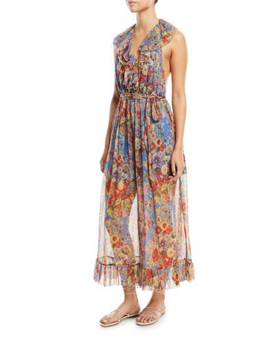 Lovelorn Halter Floral-Print Ruffled Wide-Leg Jumpsuit