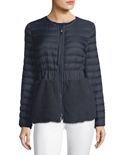 Hellolite Zip-Front Quilted Puffer Coat with Mink Fur