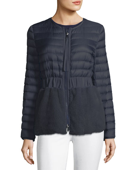 Moncler Hellolite Zip-Front Quilted Puffer Coat with Mink