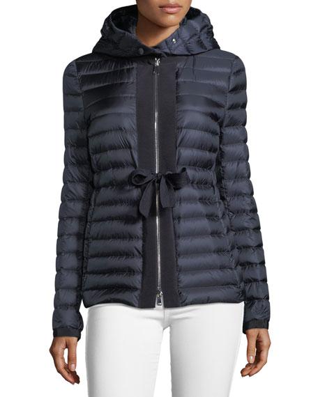 Moncler Periclase Self-Tie Puffer Jacket w/ Hood