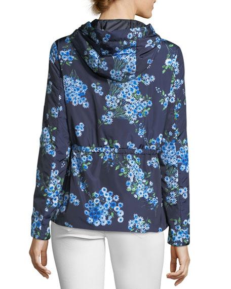 Raief Floral-Print Zip-Front Parka Jacket