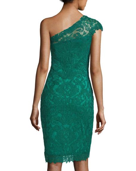 Asymmetric Lace Overlay Cocktail Dress