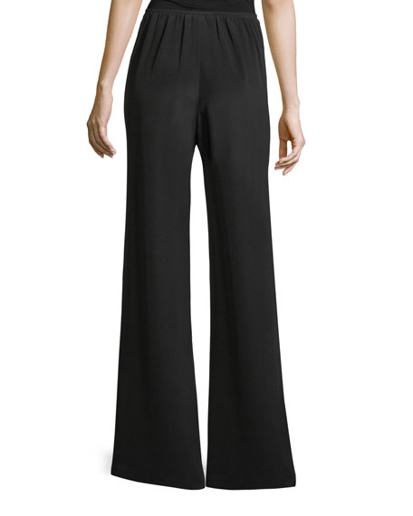 Silk Crepe Wide-Leg Pants