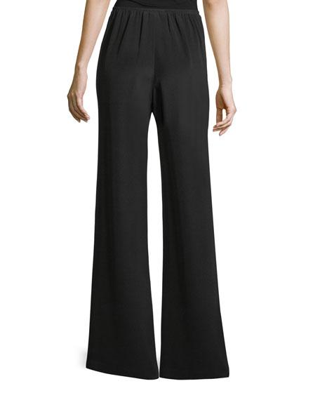 Petite Silk Crepe Wide-Leg Pants