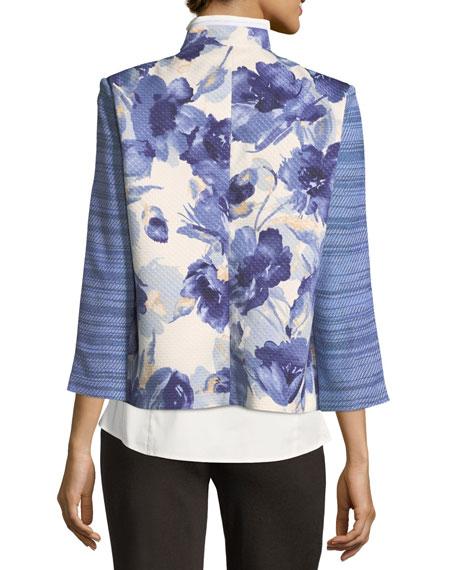 Petite Watercolor Floral Stripe-Sleeve Jacket
