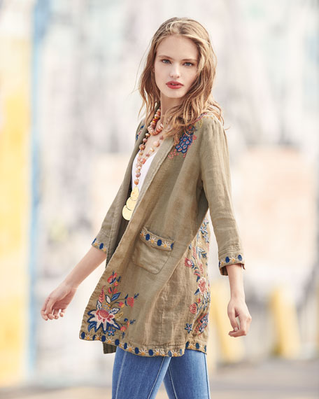 Tivva Heavy Linen Embroidered Coat