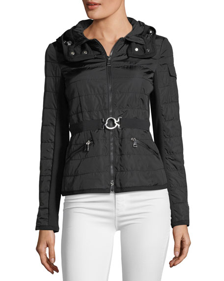 Andradite Zip-Front Fitted Jacket, Black