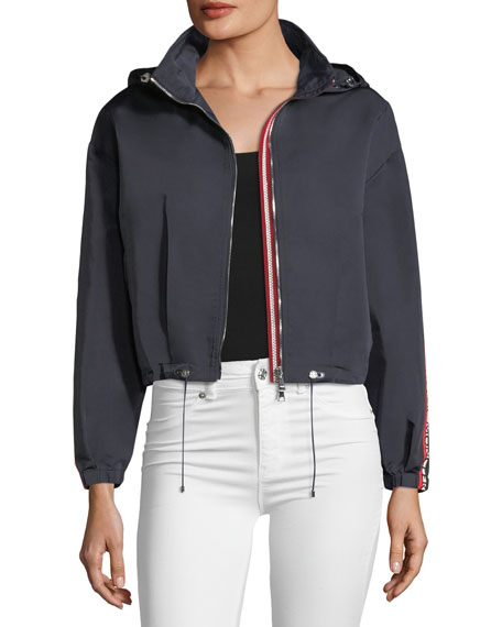 Moncler Zirconite Logo-Sleeve Cropped Jacket