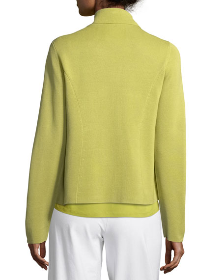 Silk-Blend Interlock Short Jacket, Petite