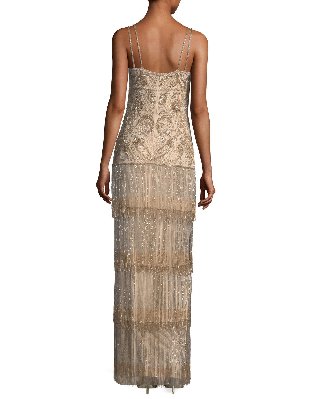 Aidan Mattox Beaded Fringe Column Tiered Long Evening Gown | Neiman ...