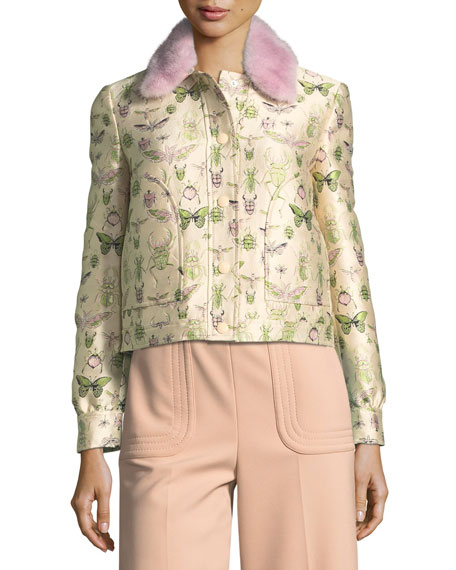 Insect-Print Brocade Jacket