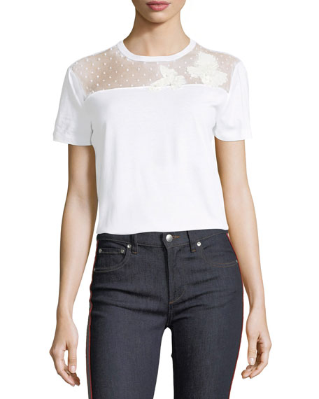 REDValentino Lace-Yoke Jersey T-Shirt and Matching Items