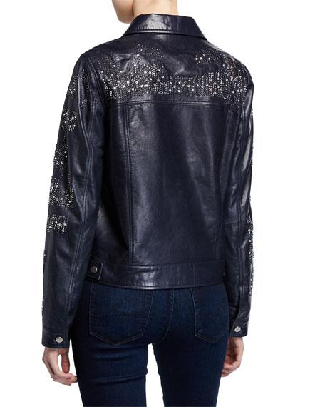 Leather Crystal Motorcycle Jacket