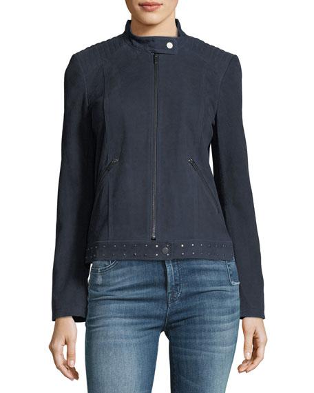 Studded-Trim Suede Jacket