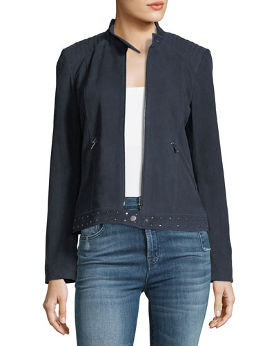 Studded-Trim Suede Jacket