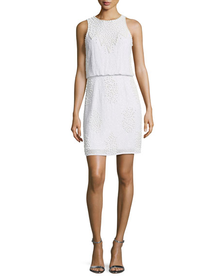 Beaded Blouson Sleeveless Mini Cocktail Dress