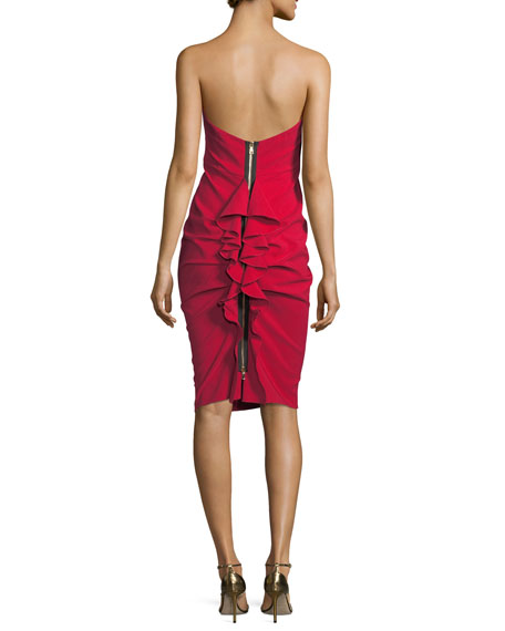 Maria Bianca Nero Cameron Strapless Back-Ruffle Cocktail Dress