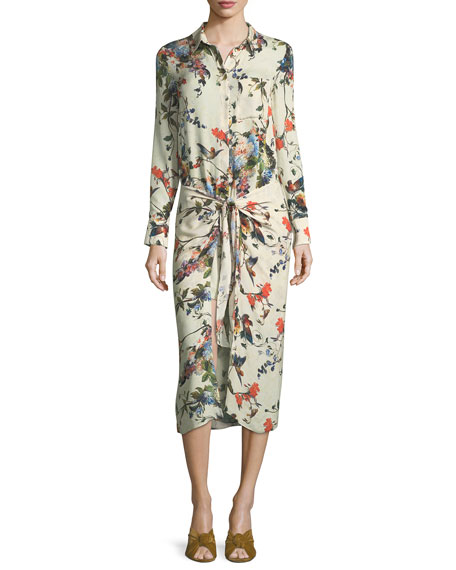 Haute Hippie Debutante Floral-Print Button-Front Silk Dress